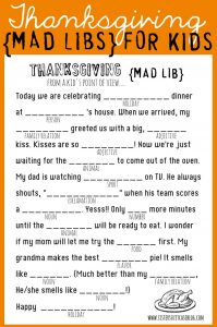 Free Thanksgiving Printable Mad Libs