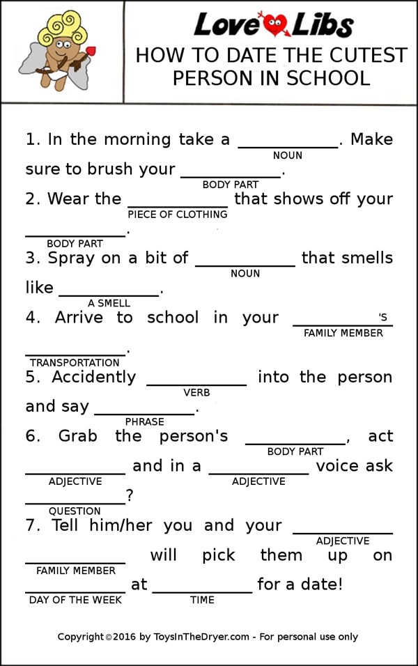 photo regarding Printable Mad Libs Sheets for Adults titled 19 Intimate Valentine Insane Libs