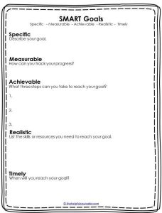 Goal Setting Worksheet for High School Seniors
