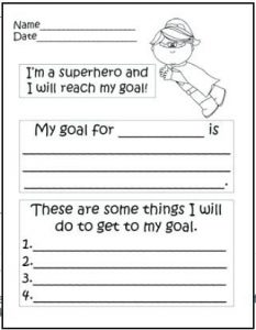Goal Setting Worksheet for High School Students