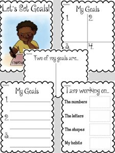 Kindergarten Goal Setting Worksheets