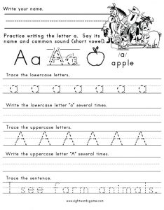 Learning Letter A Worksheets for Pre K