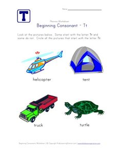 Letter T Phonics Worksheets