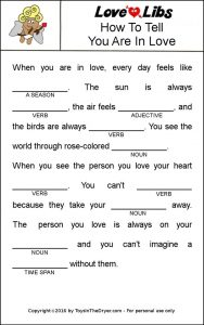 Mad Libs Valentine's Printable