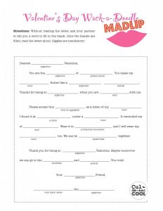 Mad Libs Valentine Cards