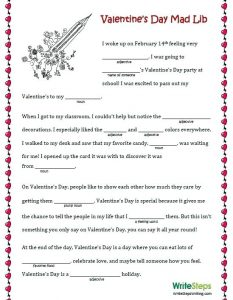 Mad Libs for Kids Valentines