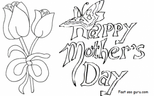 Mother's Day Coloring Card Template