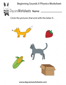 Phonics X Sound Worksheets