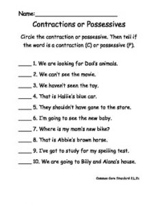 Possessive Pronouns and Contractions Worksheet