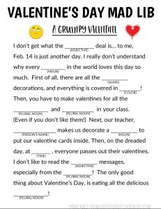 Printable Mad Libs for Valentine's Day