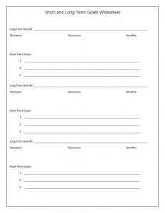 Short and Long Term Goal Setting Worksheet