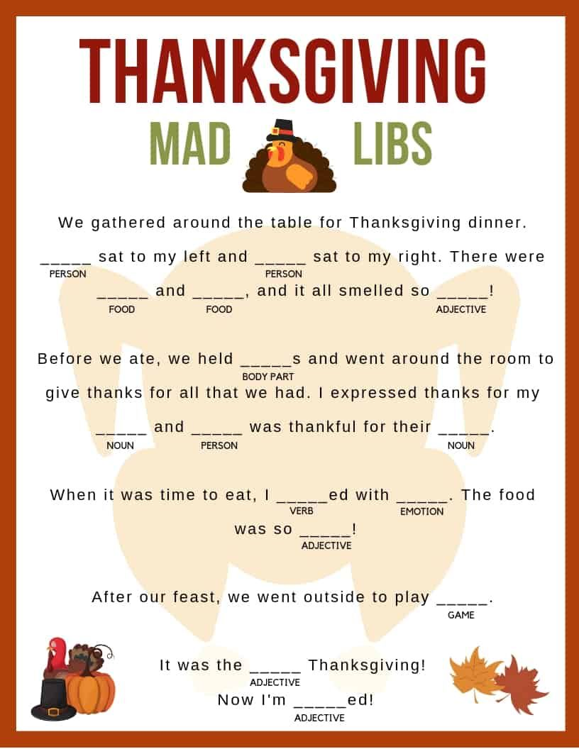 graphic regarding Thanksgiving Mad Libs Printable referred to as 12 Amusing Thanksgiving Crazy Libs for All