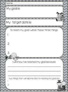 Swimming Goal Setting Worksheet