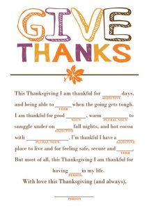 Thanksgiving Mad Libs Activities
