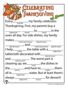 Thanksgiving Mad Libs Funny