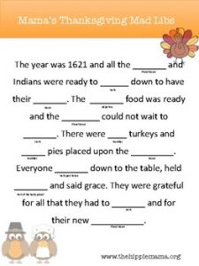 Thanksgiving Mad Libs Ideas