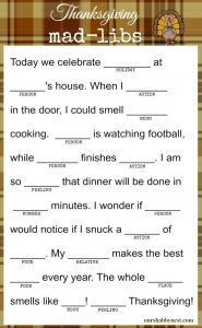 Thanksgiving Mad Libs for Adults