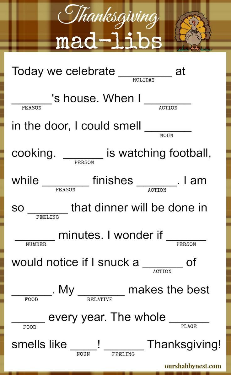 image about Funny Mad Libs for Adults Printable called 12 Humorous Thanksgiving Ridiculous Libs for All