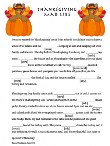Thanksgiving Mad Libs for Middle School