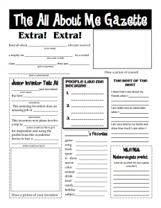 The All About Me Gazette Worksheet