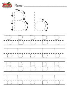 Traceable Letter B Handwriting Worksheets Practice