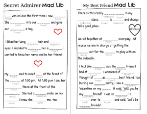 Valentine Mad Libs Worksheets