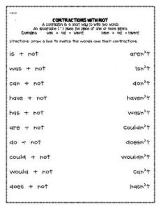 Verb Contractions Worksheet