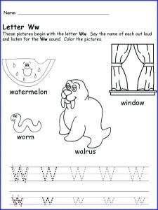 W Phonics Worksheets