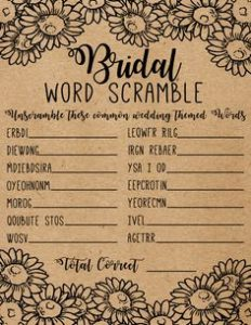 Wedding Shower Word Scramble