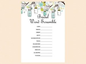 Words for Bridal Shower Word Scramble