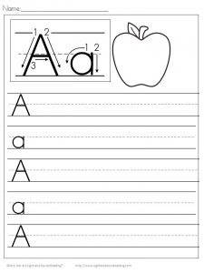 Writing Letter A Worksheet for Preschool