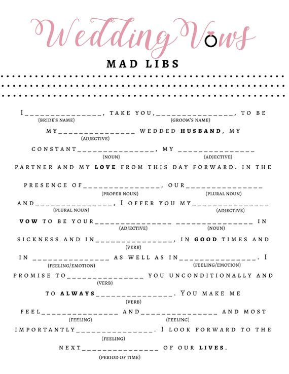photo relating to Bridal Shower Mad Libs Printable titled 7 Bridal Shower Insane Libs for the Final Pre-wedding ceremony Enjoyable