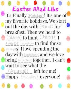 Easter Mad Libs Free