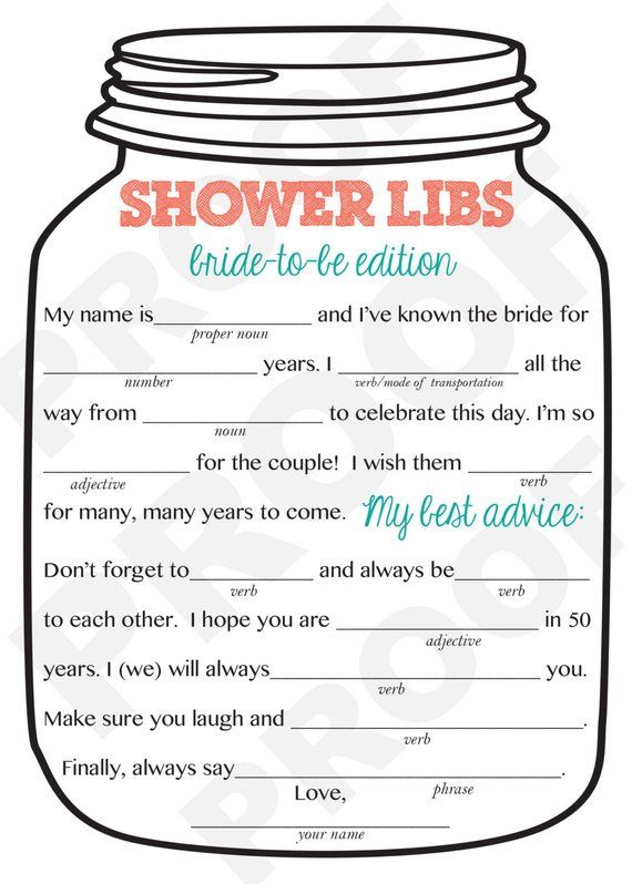 Free Bridal Shower Games Mad Libs