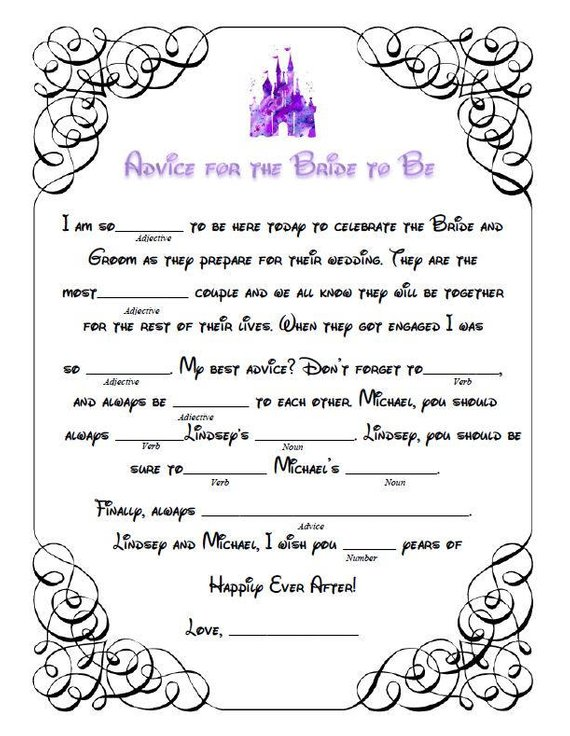 graphic relating to Funny Mad Libs Printable called 7 Bridal Shower Outrageous Libs for the Final Pre-marriage Entertaining