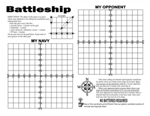 Latitude and Longitude Battleship Printable