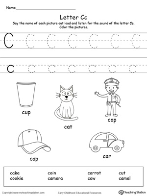 28 Letter C Worksheets for Young Learners | KittyBabyLove.com