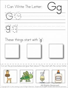 Letter G Cut and Paste Worksheet