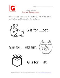 Letter G Recognition Worksheet for Toddlers