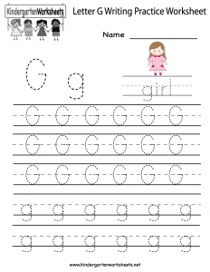 Letter G Writing Worksheets Kindergarten