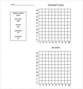 Printable Battleship Game