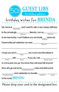 50th Birthday Party Mad Libs