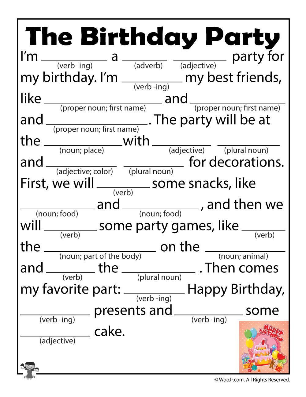 It's just a picture of Slobbery Happy Birthday Mad Libs Printable