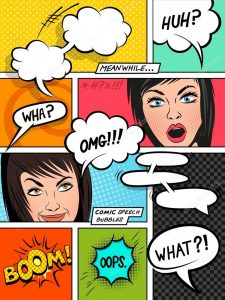 Comic Strip Template with Speech Bubbles and Characters