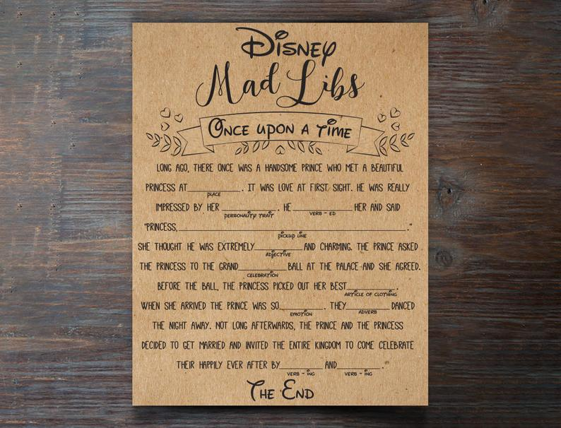 Disney Mad Libs Once Upon A Time