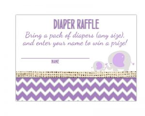 Elephant Diaper Raffle Tickets