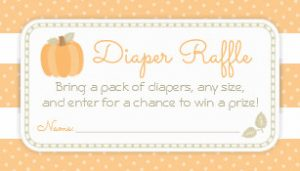 Fall Pumpkin Diaper Raffle Tickets