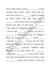 Terrible image within harry potter mad libs printable
