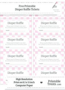 Free Printable Diaper Raffle Tickets for Girl Baby Shower