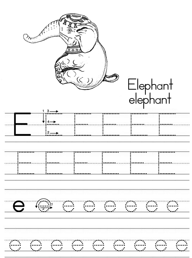 32 Fun Letter E Worksheets | KittyBabyLove.com